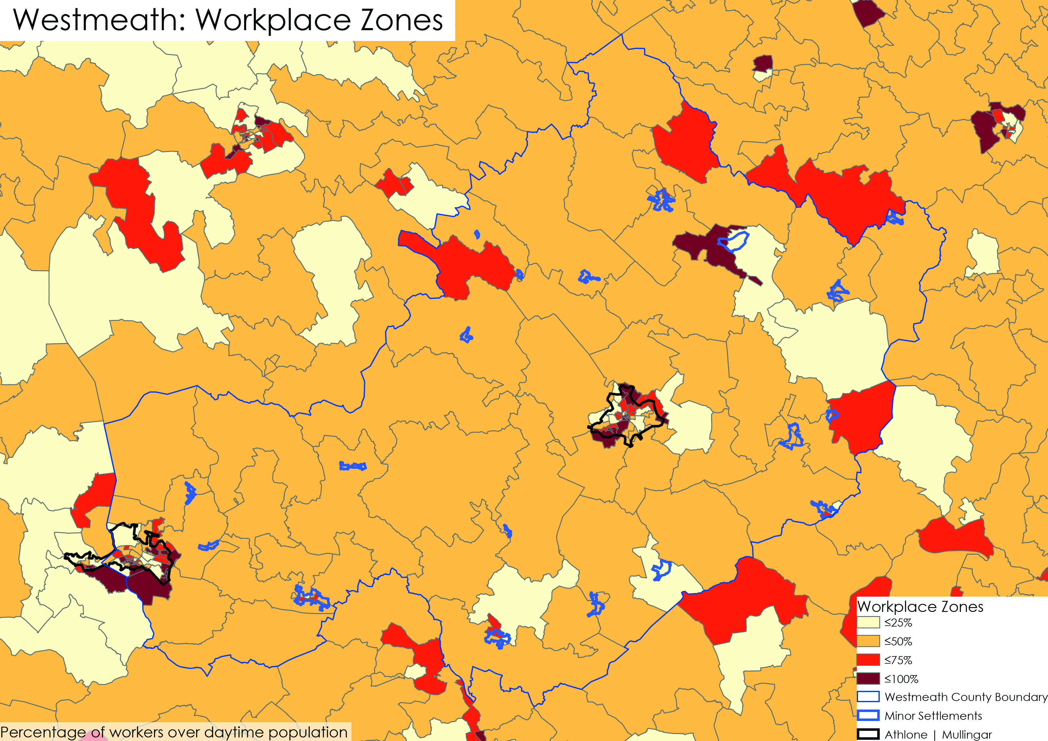 Figure 5.4 Concentration of daytime population by workplace zone