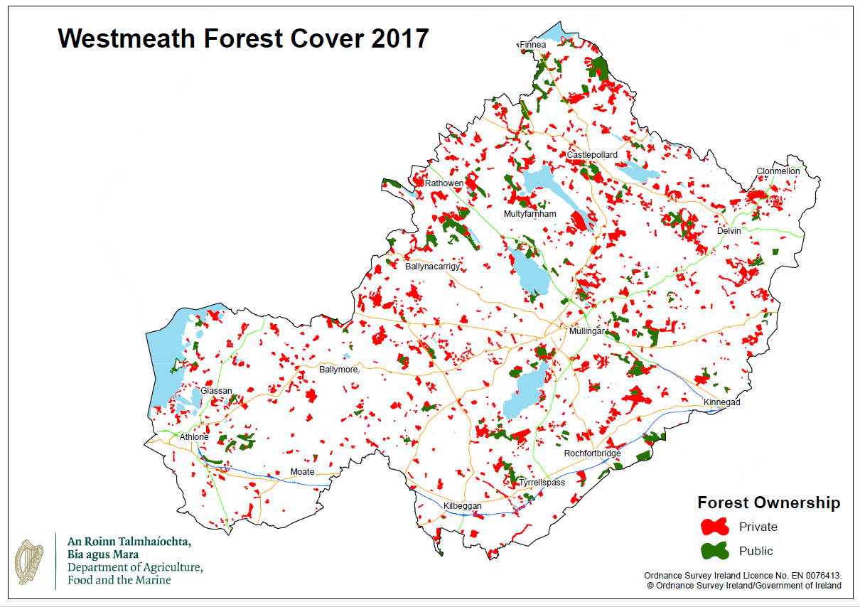 Map 9.2 Westmeath Forest Cover Source: Department of Agriculture, Food and the Marine
